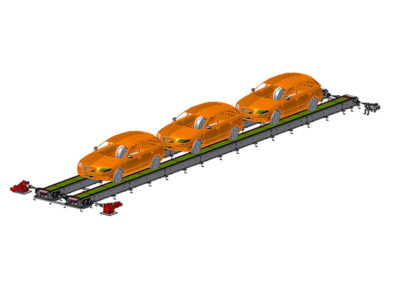 Link-belt conveyor, double type, for transport of vehicles