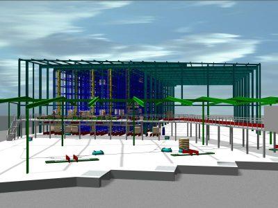 Simulation Hochregallager mit Lagervorzone