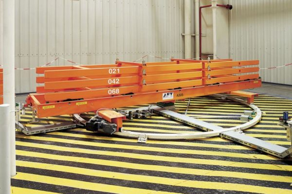 Roller-rail conveyor for skids with turning table
