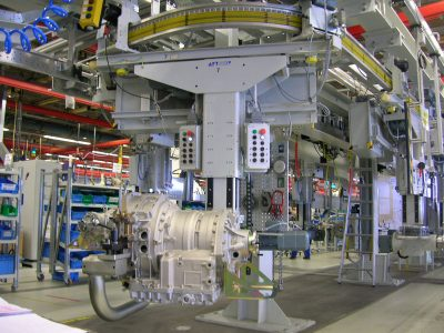 Electric overhead monorail used in assembly line for gears