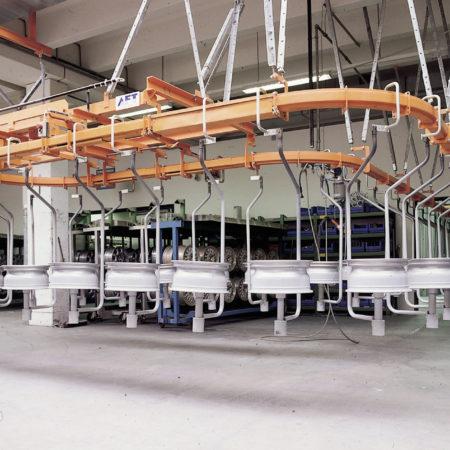 Circular conveyor system for transport of wheel rims