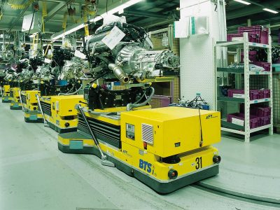 Automated floor transport vehicle BTS used in assembly line for motors