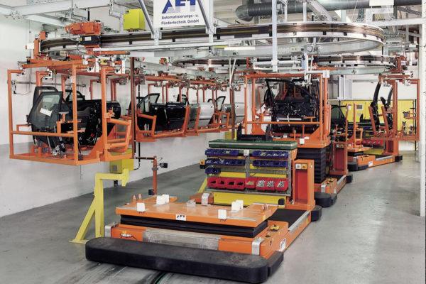 Bodentransportsystem BTS für die Zuführung von Bauteilen