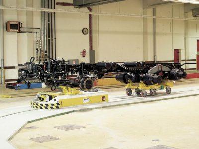 Automated floor transport vehicle BTSif used to transport power units