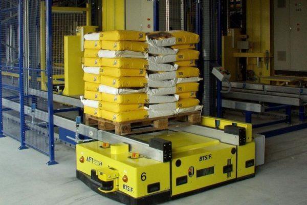 Bodentransportsystem BTSif für den Transport von Paletten in einer Lagervorzone
