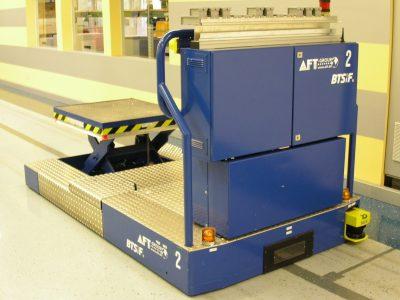 Automated floor transport vehicle BTSif used to transport cash dispensers