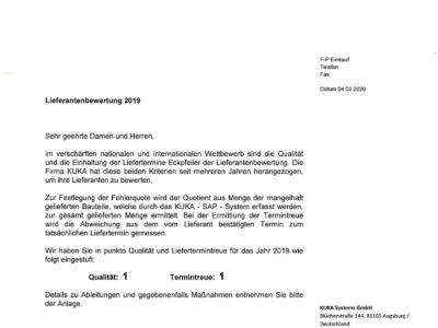 AFT Bautzen Lieferantenbewertung Kuka_2