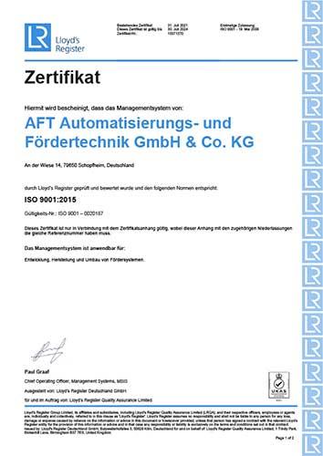 AFT DIN ISO 9001:2015 Zertifikat 2021-24